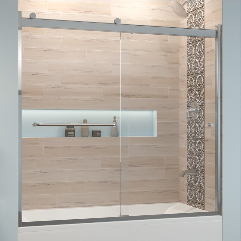 "Basco Rotolo 60"" x 57"" Bypass Semi-Frameless Tub Door  Finish: Brushed Nickel, Glass Type: AquaGlideXP Clear"