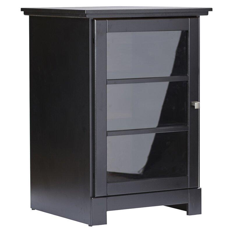 winston porter 1 door audio cabinet in black reviews wayfair rh wayfair com audio stand with glass door audio stand with glass door