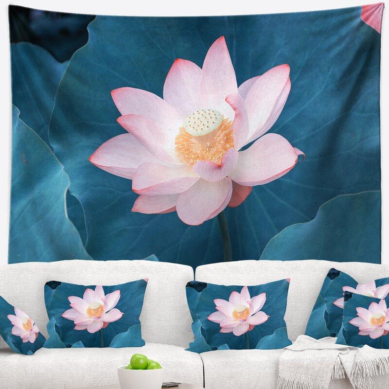 East Urban Home Beach Blooming Pink Lotus Flower Tapestry Wayfair