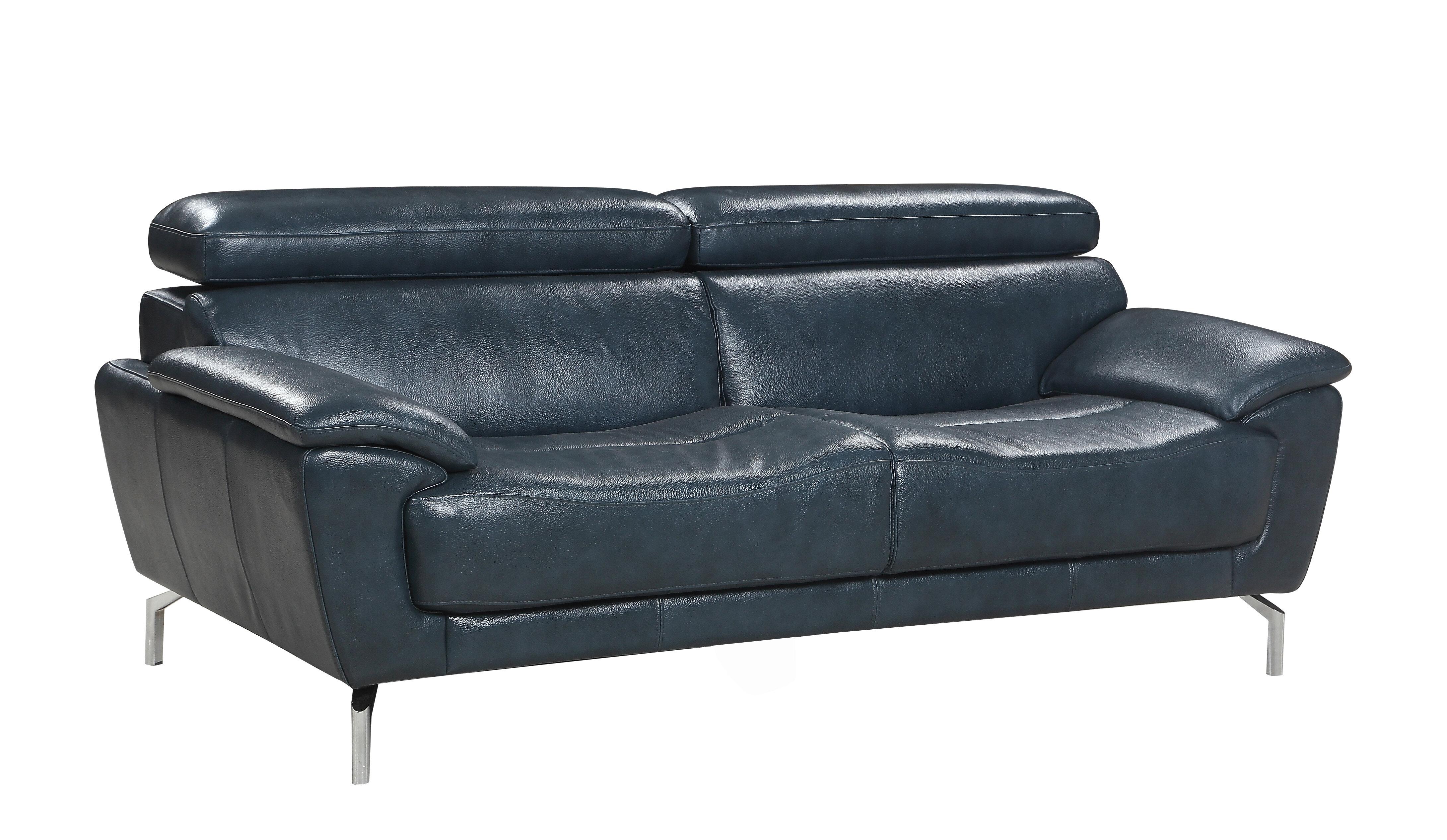 Orren Ellis Demar Mid Century Modern Top Grain Leather Sofa Wayfair