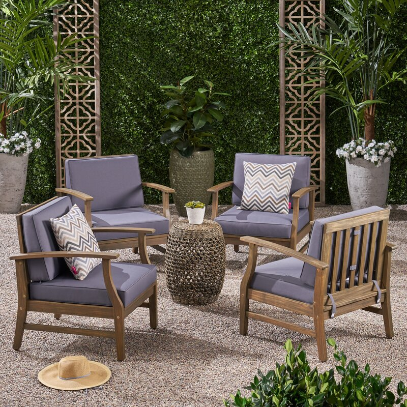 Antonia Modern Outdoor Wood Patio Chair With Cushions