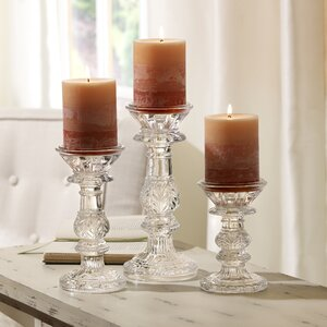 3 Piece Glass Leaf Candle Holder Set