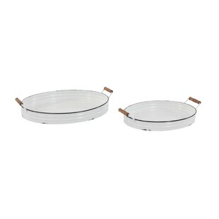 Emlenton Traditional Round Serving Tray With Handles Set Of 2