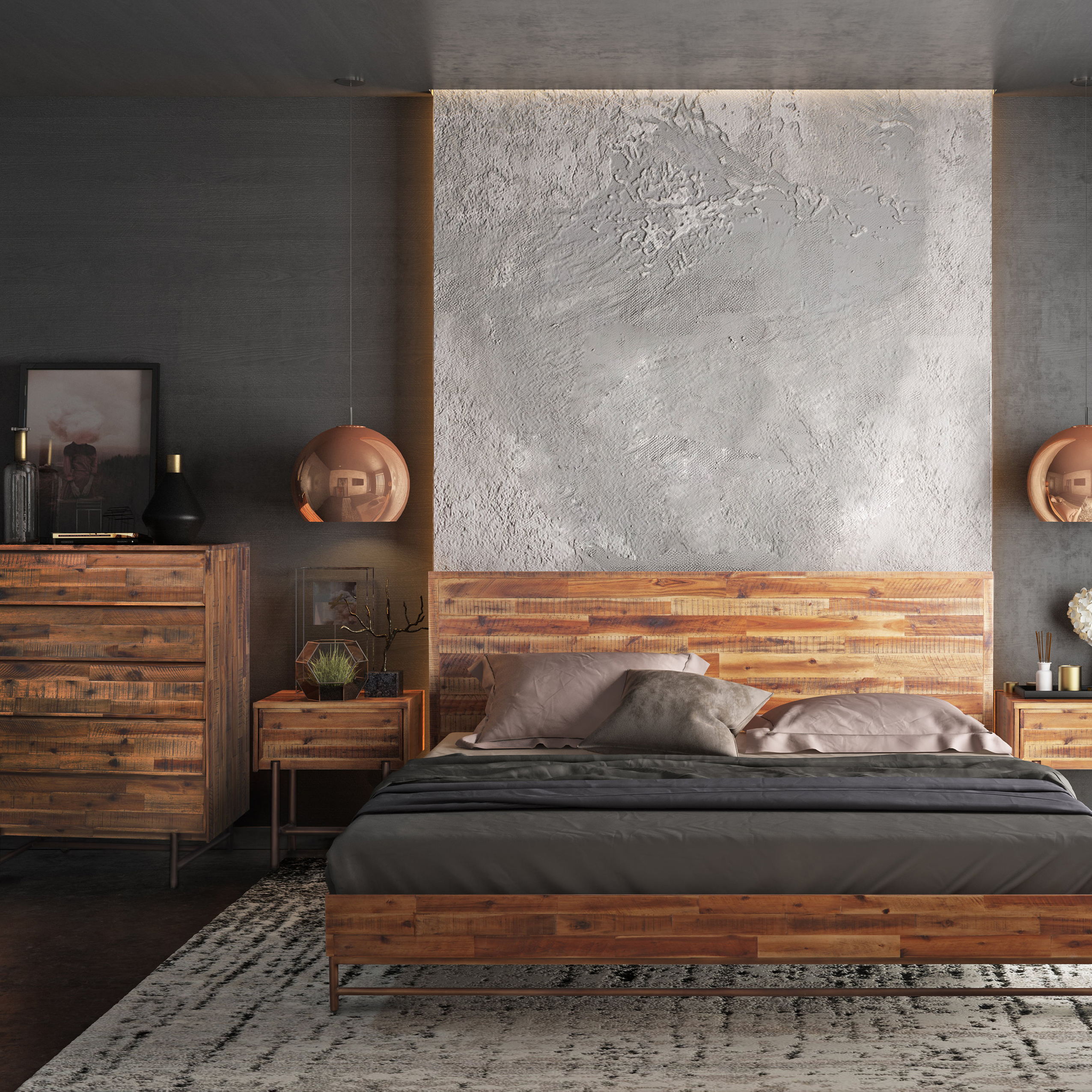 Contemporary Furniture Bed: Modern Bedroom Accent Furniture