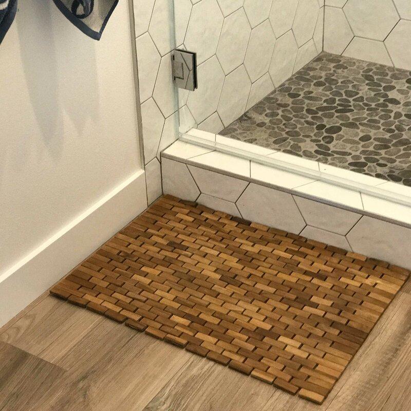 solid teak floor mat