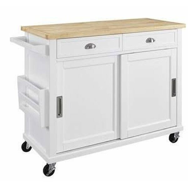Wooden Kitchen Cart With Caster Wheels And 2 Drawers, White And Brown