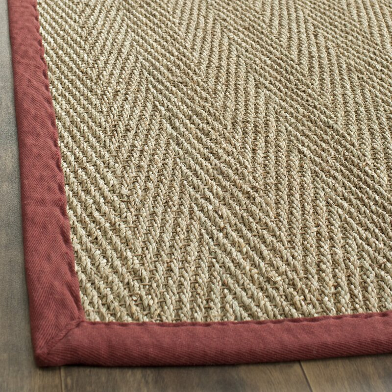 Eldert Natural Fiber Hand Woven Brown Tan Red Area Rug
