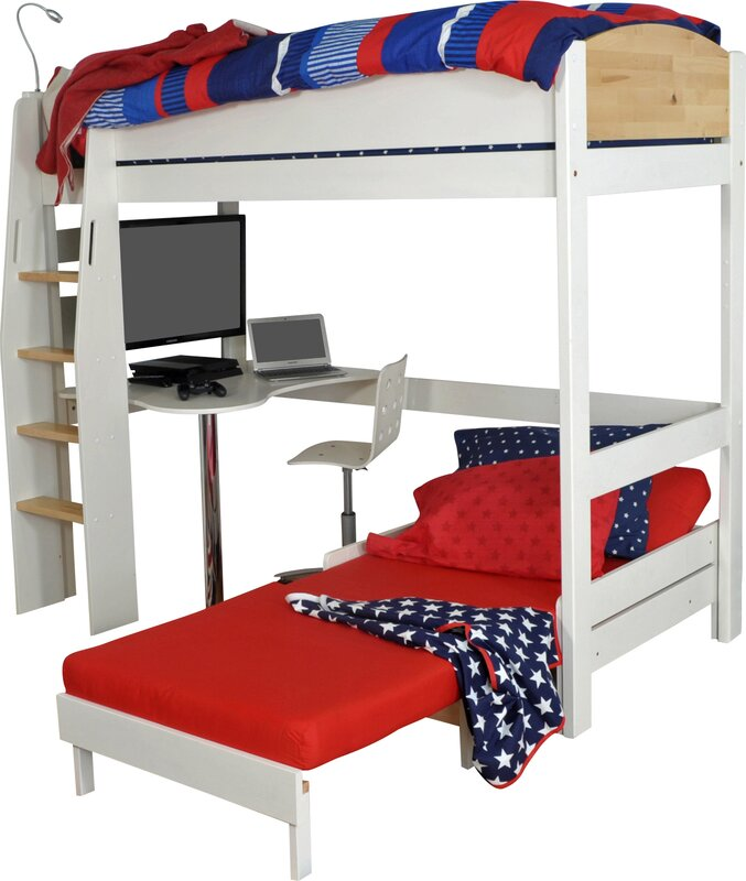 Wrigglebox Norfolk Single High Sleeper Bed With Desk