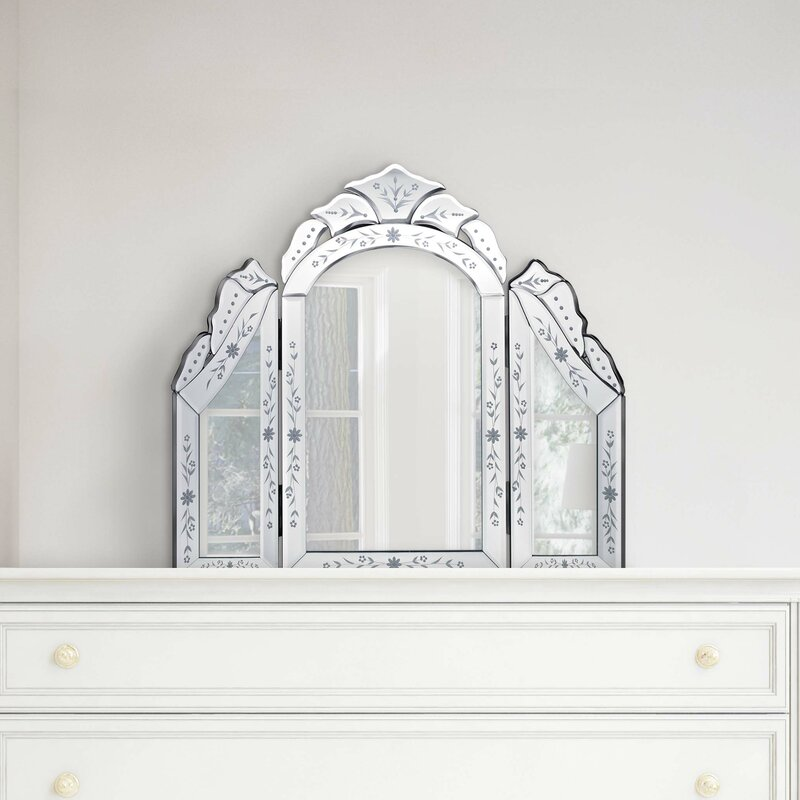 Glass Venetian Tri Fold Dressing Table Mirror