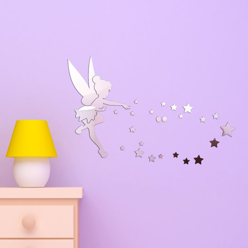 walplus little girl mirror wall art wall decal | wayfair