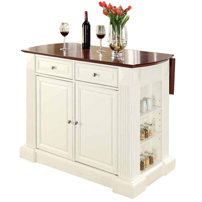 Byron Drop Leaf Breakfast Bar Top Kitchen Island