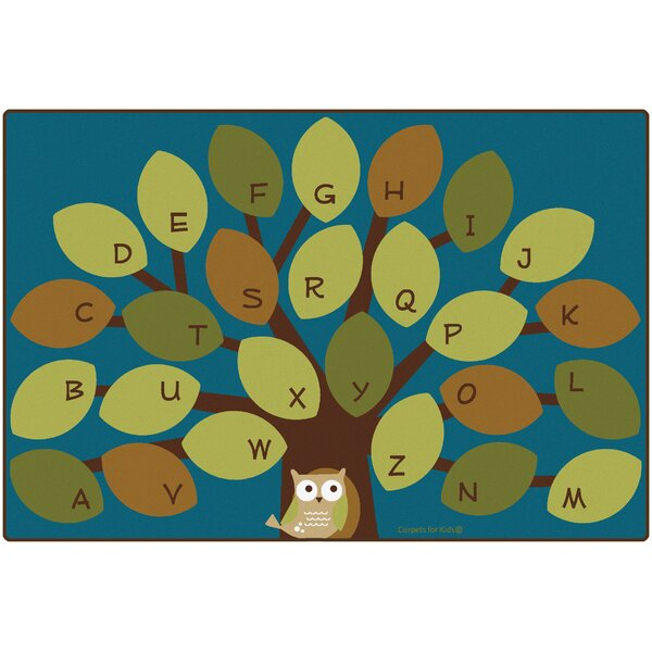 Carpets for Kids Premium Collection OwlPhabet Tree Teal Area Rug