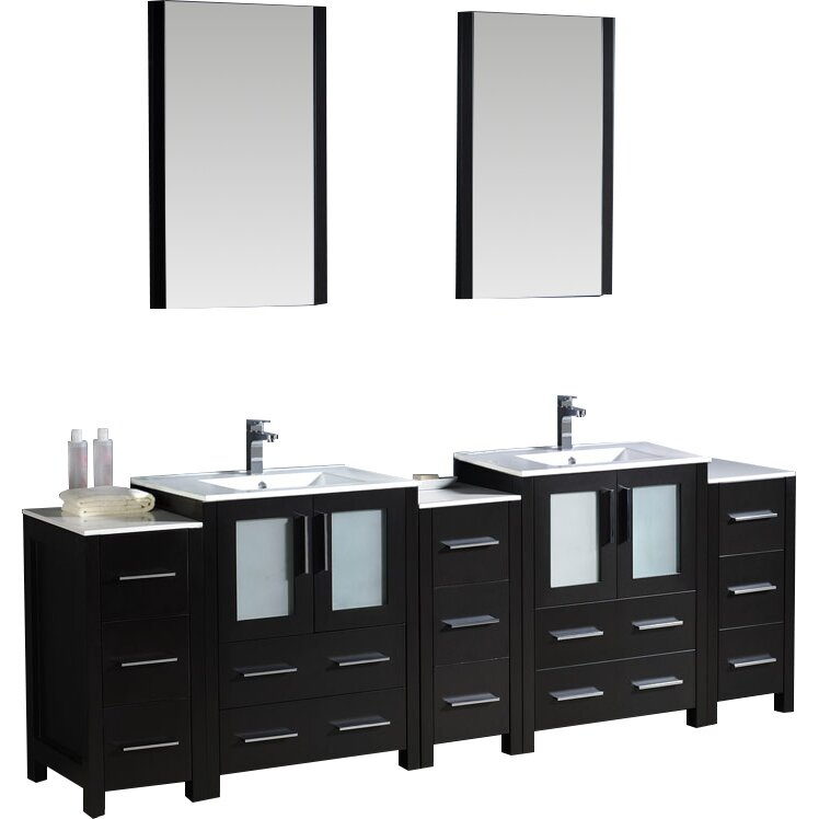 Fresca bari torino 84 double modern bathroom vanity set with mirrors reviews wayfair - Kona modern bathroom vanity set ...