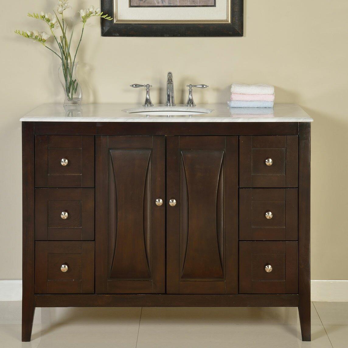 silkroad exclusive 48 single sink cabinet bathroom vanity set reviews wayfair. Black Bedroom Furniture Sets. Home Design Ideas