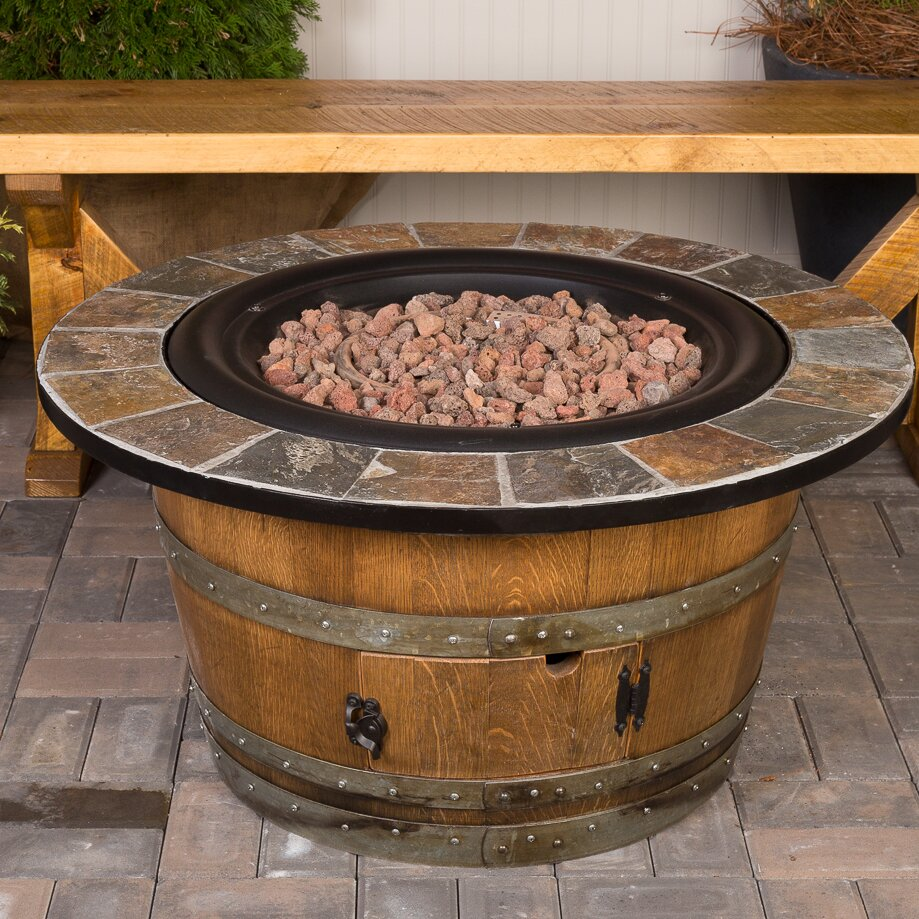 Napa East Collection Wine Barrel Steel Propane Fire Pit