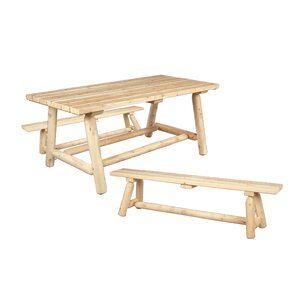 Classic Cedar Farmeru0027s Table And Bench Set