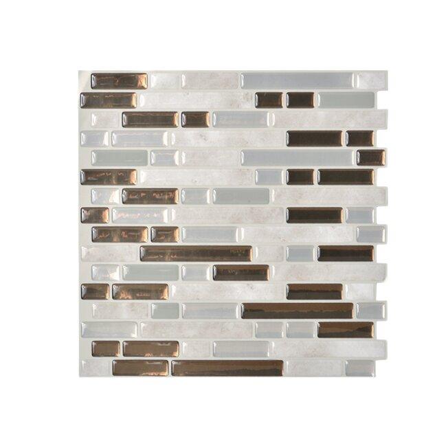 smart tiles mosaik bellagio grigio x 10 peel stick wall tile in bronze gray. Black Bedroom Furniture Sets. Home Design Ideas