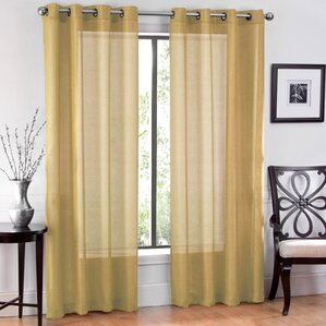 Window Sheet Solid Sheer Grommet Curtain Panels (Set Of 2)  Mustard Yellow Curtains