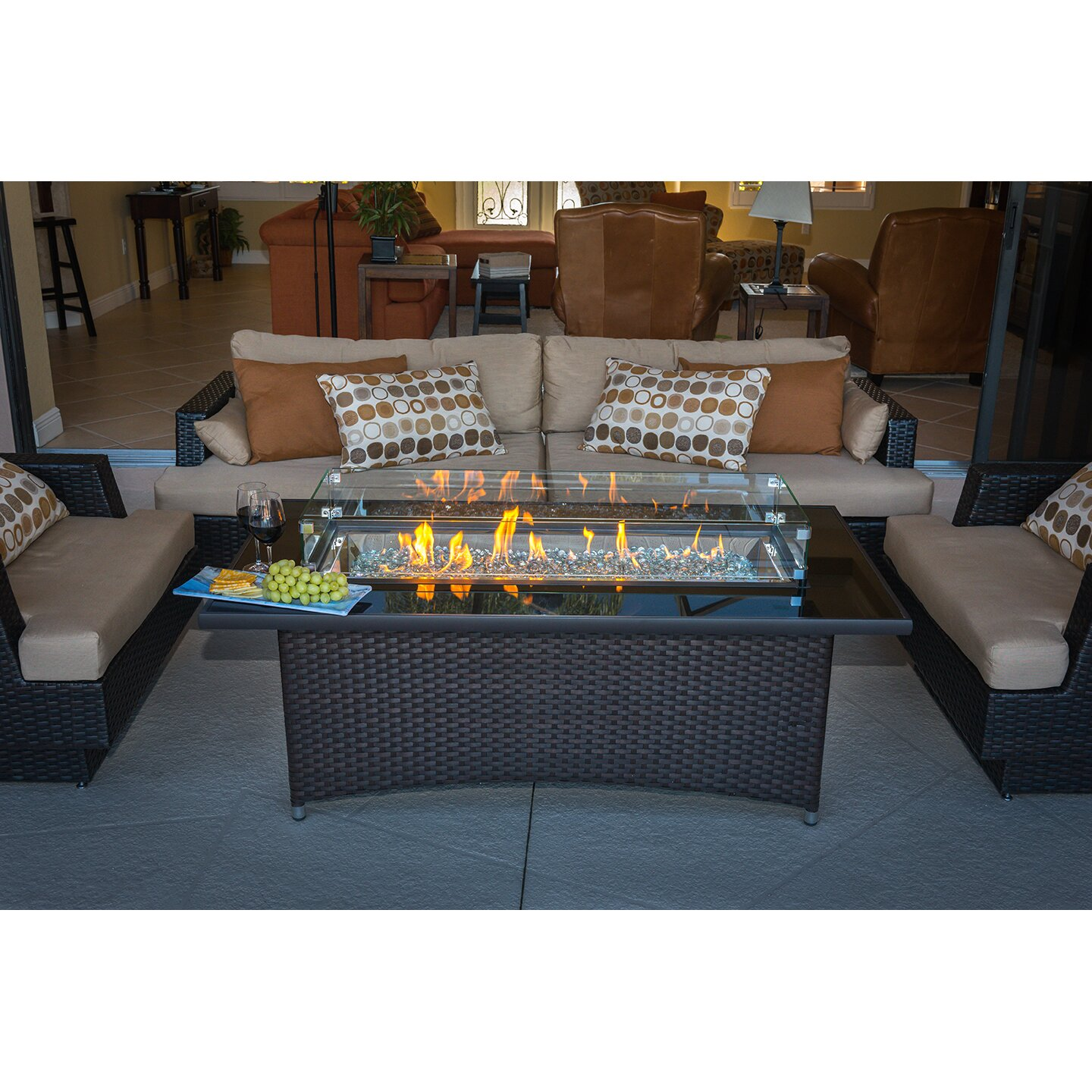 Wicker Coffee Table Base: The Outdoor GreatRoom Company Montego Crystal Fire Pit