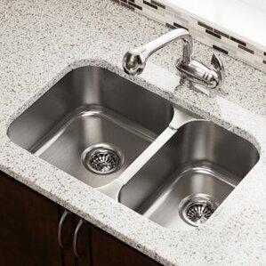 27 5 X 18 Double Bowl Undermount Kitchen Sink