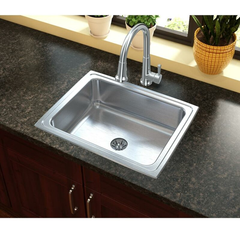 Ertone 25 X 20 Top Mount Kitchen Sink With Basket Strainer