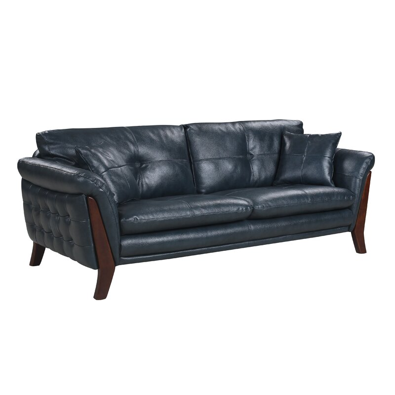 Orren Ellis Makeba Mid-Century Modern Real Leather Sofa | Wayfair