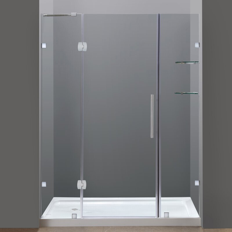 "Frameless Sliding Shower Doors aston soleil 60"" x 77.5"" hinged completely frameless sliding"