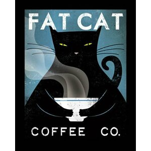'Fat Cat Coffee Company' by Ryan Fowler Framed Vintage Advertisement