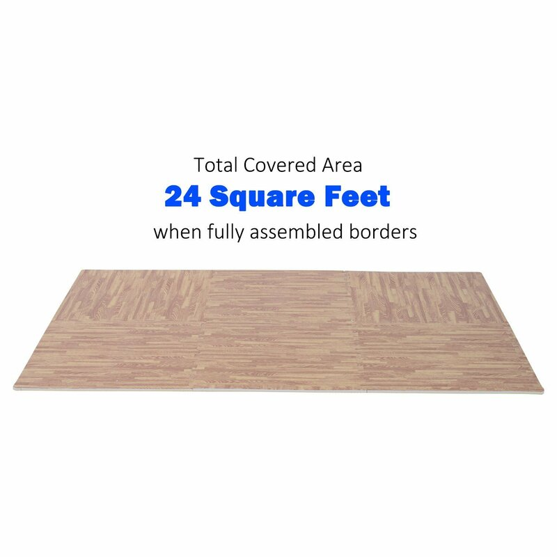 Symple Stuff Jetton Interlocking Puzzle Foam Floor Tile Mats Wood ...