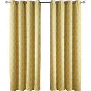 Kuhlmann Lattice Geometric Blackout Thermal Grommet Curtain Panels (Set of 2)