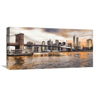 Brooklyn Bridge And Lower Manhattan At Sunset, New York City Wall Art On  Wrapped Canvas