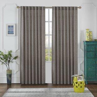 Olivia Solid Semi Sheer Thermal Tab Top Curtain Panels Set Of 2