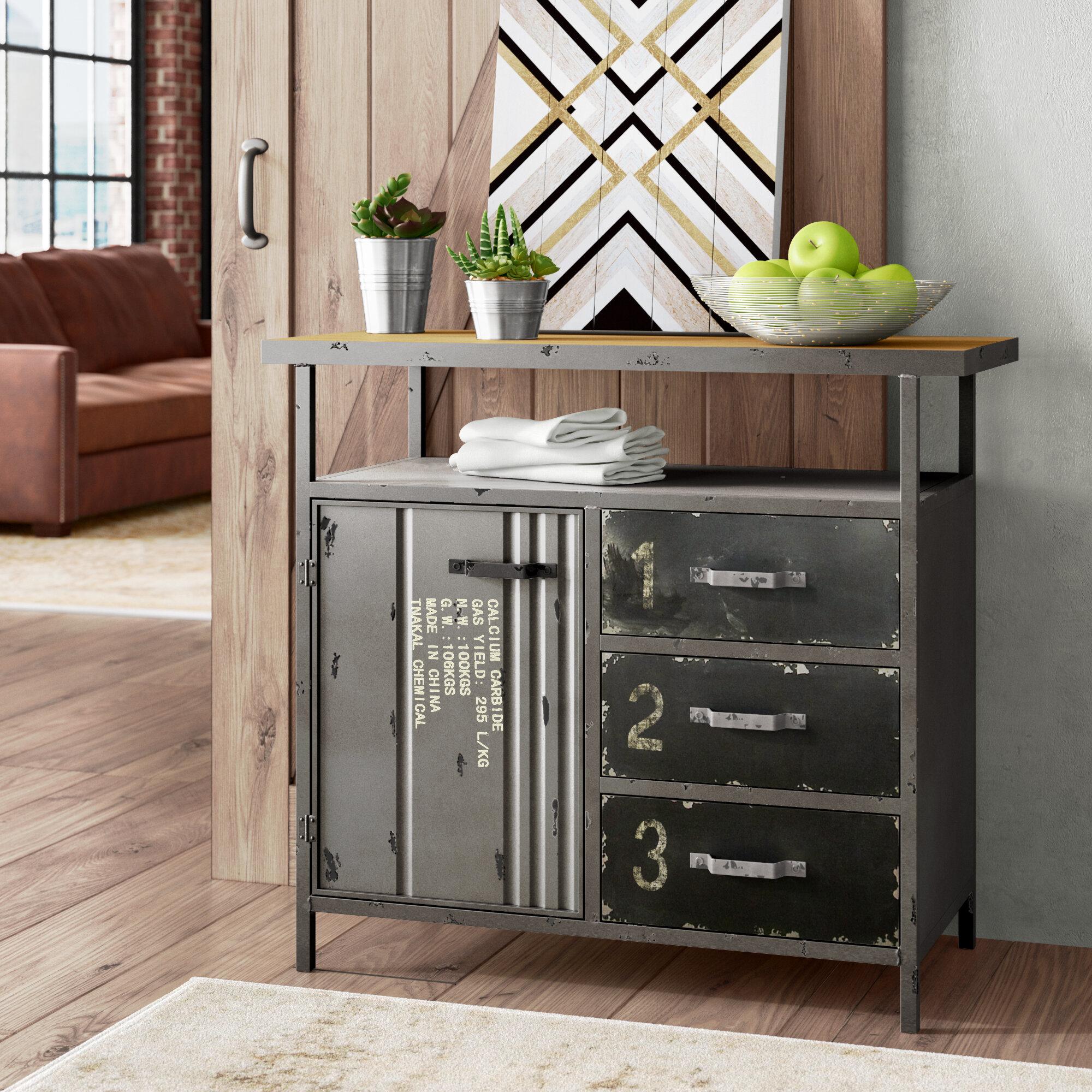 Williston Forge Hartland 1 Door 3 Drawer Metal And Wood Utility Accent  Cabinet U0026 Reviews | Wayfair