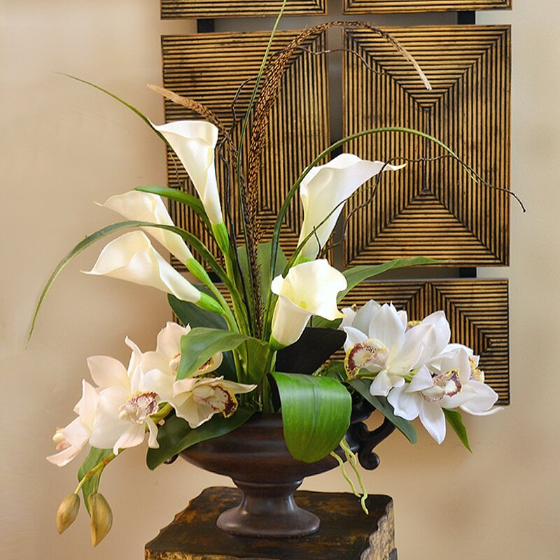 Floral home decor calla lily and orchid silk flower arrangement calla lily and orchid silk flower arrangement mightylinksfo Choice Image