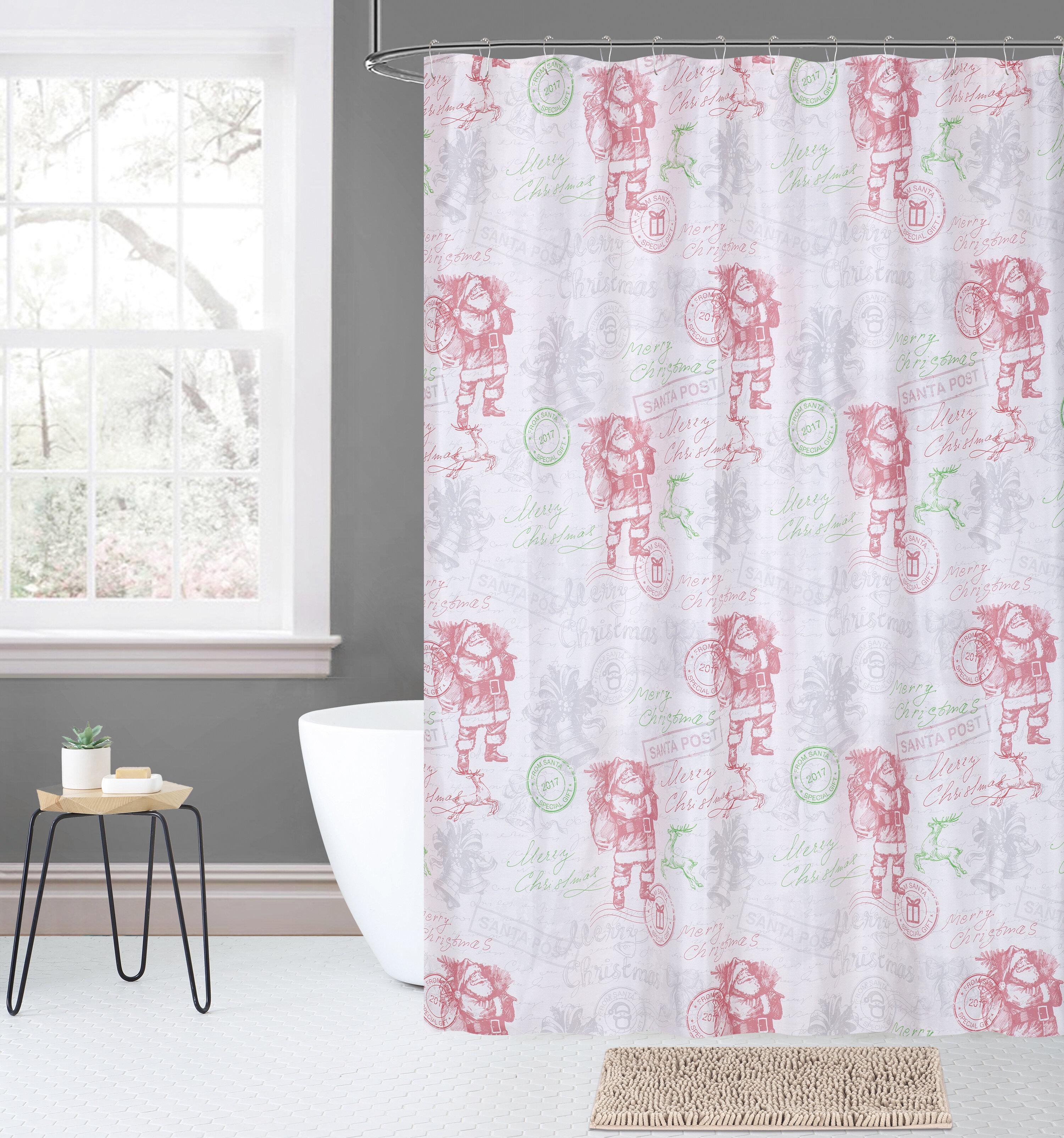 The Holiday Aisle Overturf 14 Piece Joy Noel Dear Santa Plaid Shower Curtain Set
