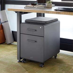 Storage Seat Rolling Cushion Top 2 Drawer Mobile Vertical Filing Cabinet