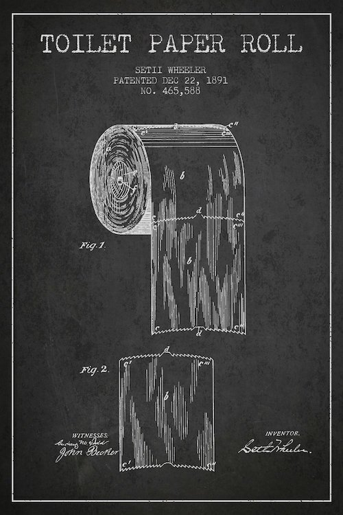 Trent austin design toilet paper charcoal patent blueprint graphic toilet paper charcoal patent blueprint graphic art on wrapped canvas malvernweather Gallery