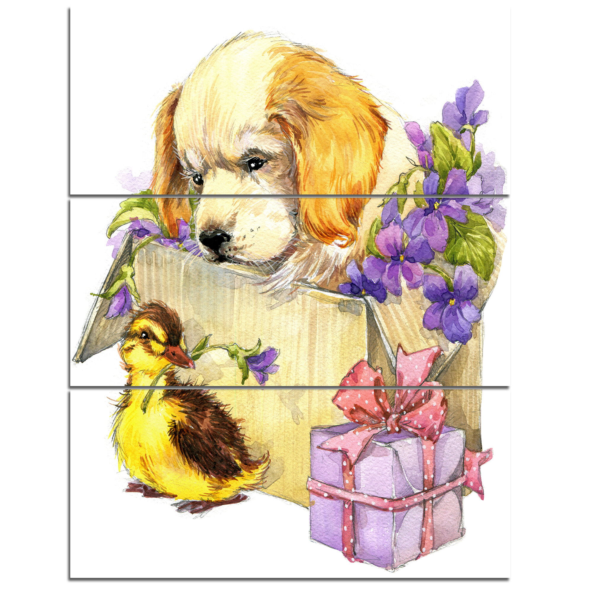 DesignArt \'Cute Puppy Dog and Duck\' 3 Piece Wall Art on Wrapped ...