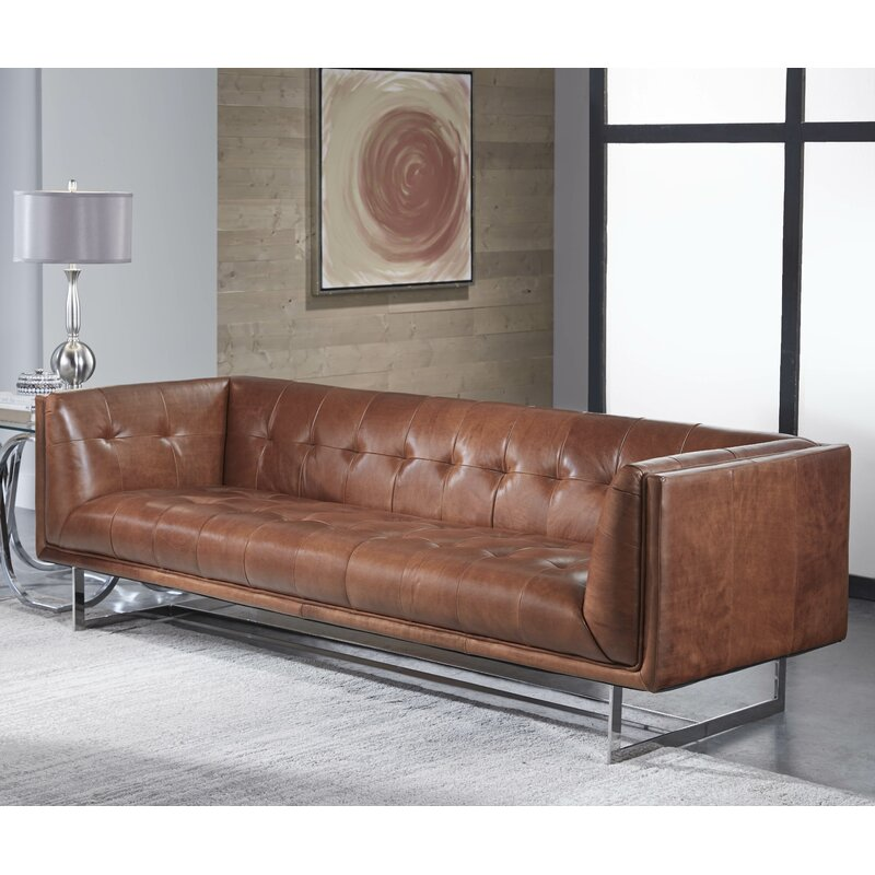 17 Stories Gulielma Leather Chesterfield Sofa Reviews Wayfair