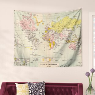 World map tapestries youll love wayfair travel by catherine holcombe wall tapestry gumiabroncs Images