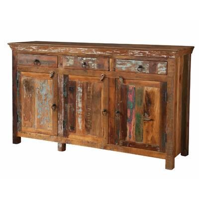 Valeria Old Reclaimed Wood and Iron 4 Door 4 Drawer Sideboard