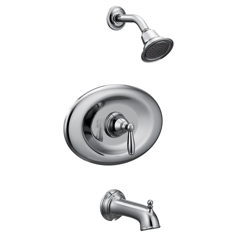 Moen Brantford Conversion Tub and Shower Faucet with Metal Lever ...