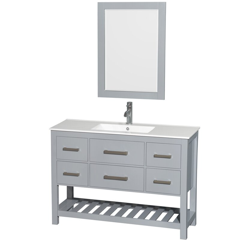 Wyndham Collection Natalie Single Gray Bathroom Vanity Set With - 48 gray bathroom vanity