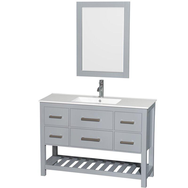 Wyndham Collection Natalie Single Gray Bathroom Vanity Set With - 48 gray bathroom vanity