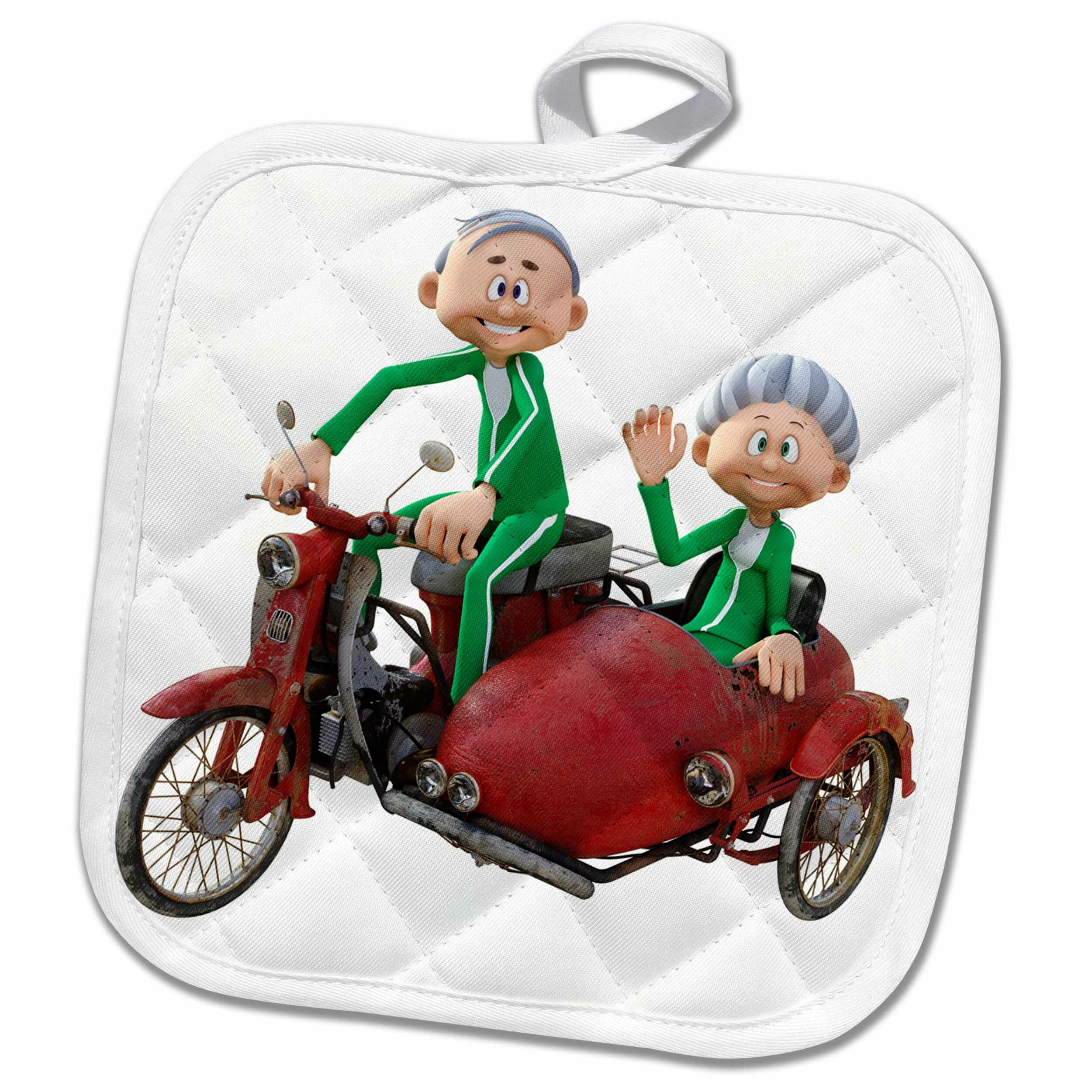 3dRose A Cartoon Elderly Couple Riding A Scooter With A