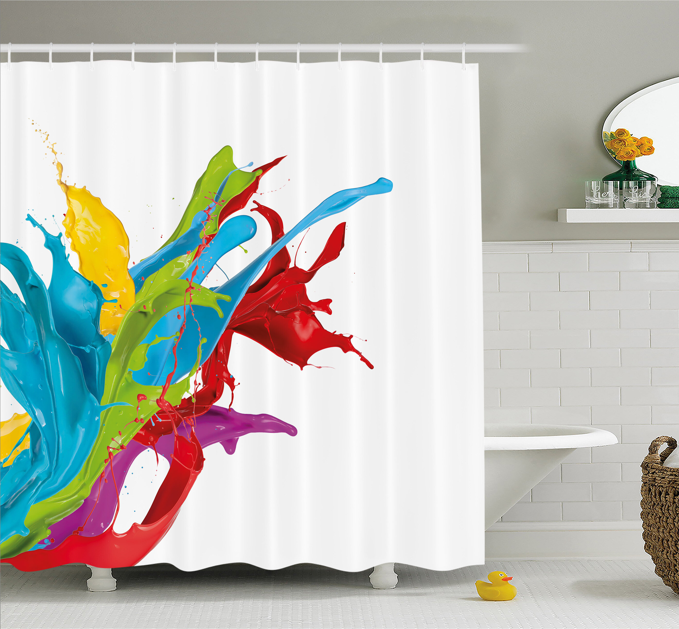 Ambesonne Colourful Home Surreal Fluid Liquid Flowing Paint Splash Featured Digital Artful Graphic Shower Curtain Set Reviews Wayfair Ca