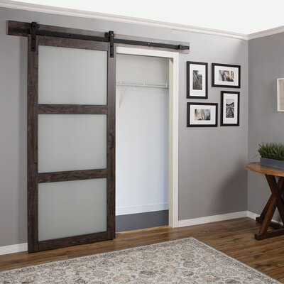 Erias Home Designs Continental Glass Barn Door with Installation Hardware Kit