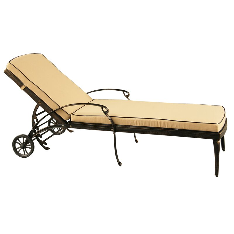 Cashin Mesh Lattice Outdoor Reclining Chaise Lounge With Cushion