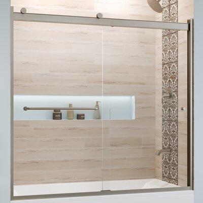 "Basco Rotolo 60"" x 57"" Bypass Semi-Frameless Tub Door  Finish: Chrome, Glass Type: Clear"