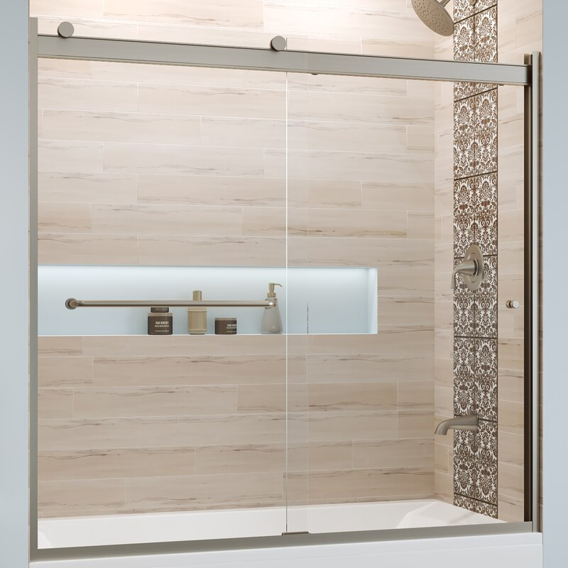 "Basco Rotolo 60"" x 57"" Bypass Semi-Frameless Tub Door  Finish: Chrome, Glass Type: Clear"